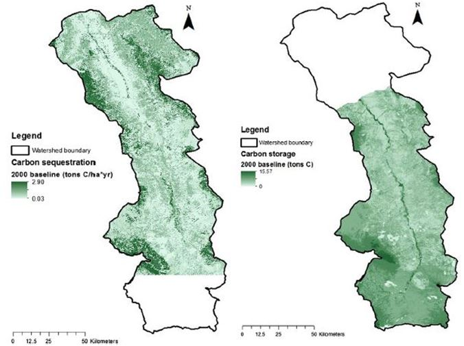 Carbon sequestration results generated using ARIES (left), carbon storage map generated using InVEST (right)